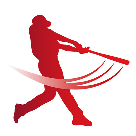 Red vector baseball batter