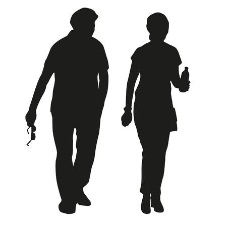 silueta masculina: Silueta de una pareja de ancianos en una caminata