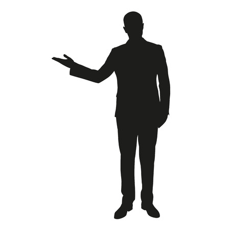Vector silhouette of a young man in a suit during presentation Illustration
