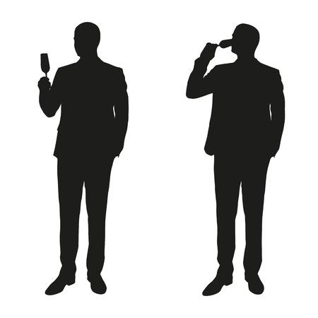 silueta hombre: Dos hombres en un traje de beber champán. Siluetas del vector Vectores