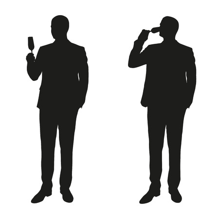one mature man: Two men in a suit drinking champagne. Vector silhouettes
