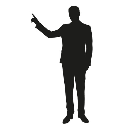 Business man vector silhouette show something
