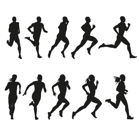 Set of silhouettes of running men and women