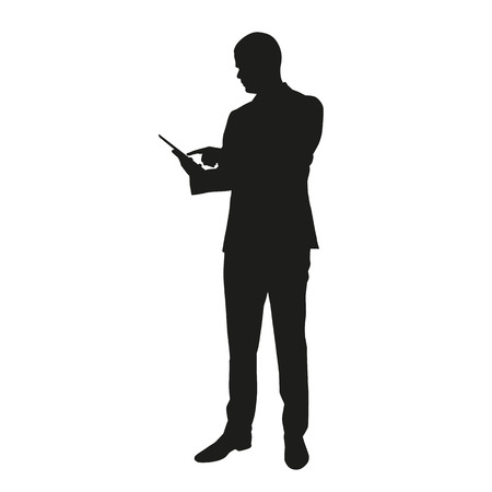 Vector silhouette of business man with tablet Ilustracja