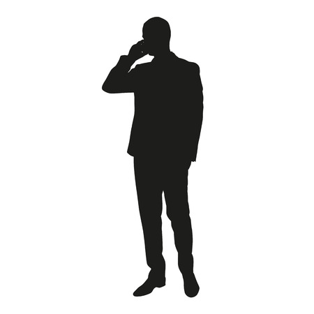 Business man silhouette with cell phone 免版税图像 - 43147705