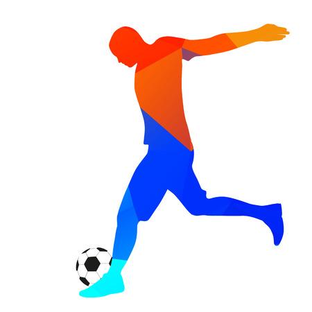 footballer: Geometric drawing footballer kicking a ball Illustration