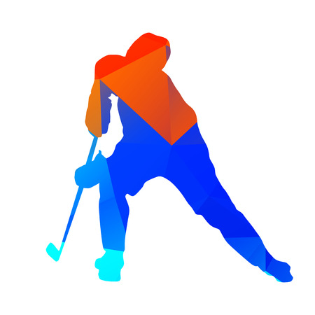ice hockey player: Abstract geometrical hockey player