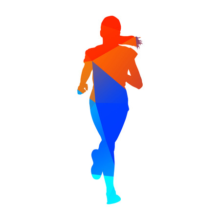 sport woman: Abstract vector geometric girl Illustration