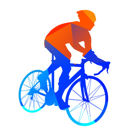 bicycle silhouette: Abstract geometrical road bicycle rider Illustration