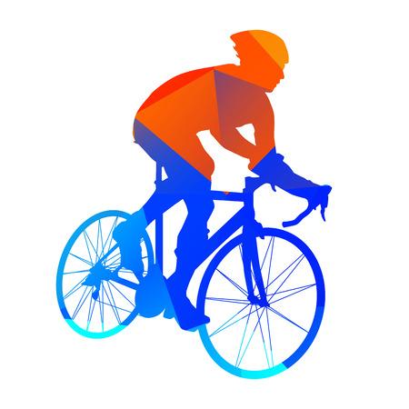 Abstract geometrische weg fietser Stock Illustratie