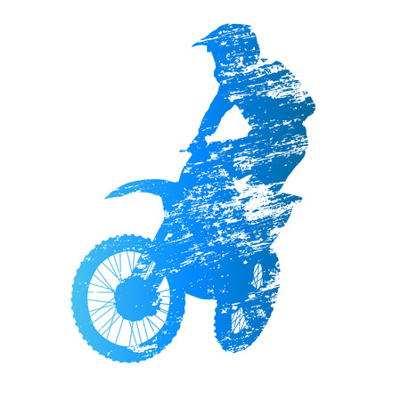 motocross riders: Scratched vector silhouette jumpiing motocross rider Illustration