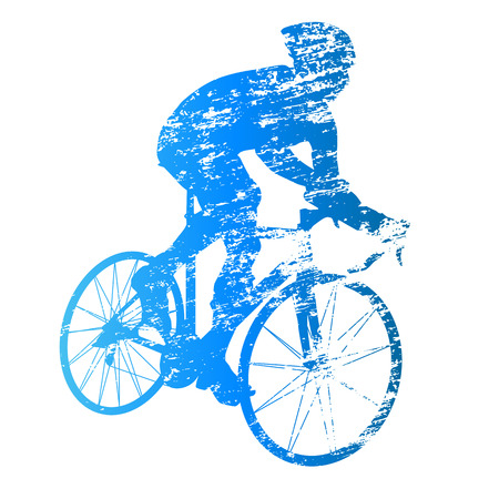 cyclist silhouette: Scratched vector silhouette of road cyclist