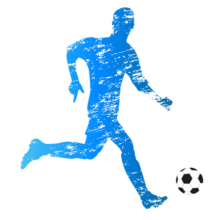 Scratched vector silhouette of young running soccer player Иллюстрация