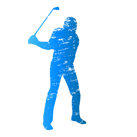 scratched: Scratched vector silhouette golfer