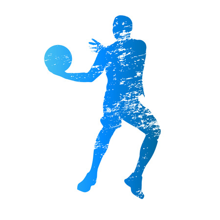 Scratched vector silhouette of jumping basketball player
