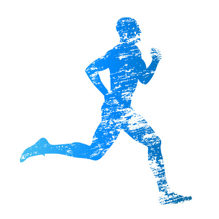 dirty man: Scratched vector silhouette of running man