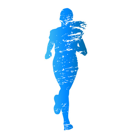 Scratched vector silhouette running young girl