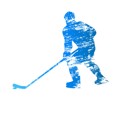 Scratched vector silhouette ice hockey player Illustration