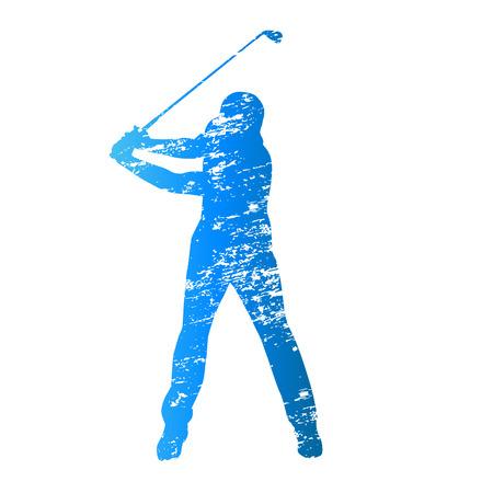 teen golf: Rayado silueta golfista vector