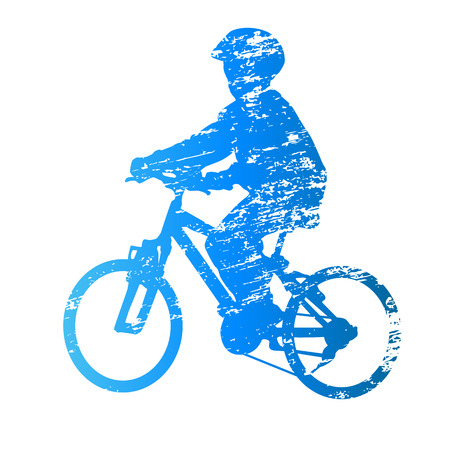 scratched: Scratched vector silhouette kid on bike