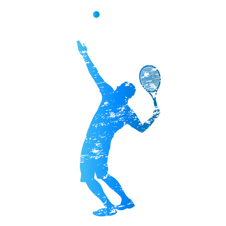 backhand: Scratched vector silhouette serving tennis player