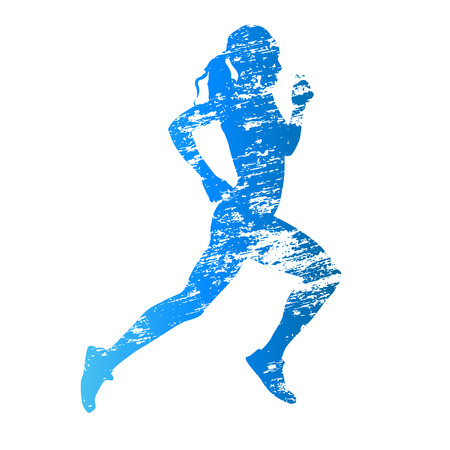 Scratched vector silhouette of running woman