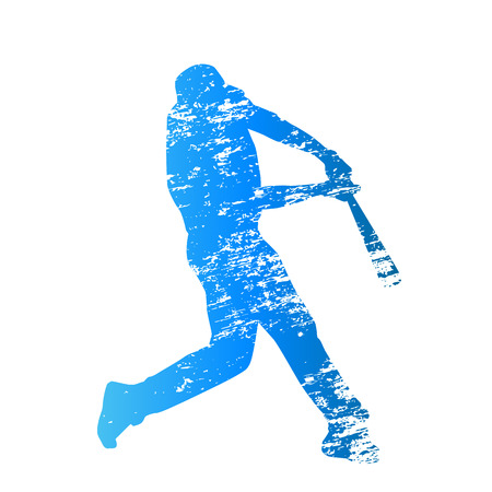 aching: Scratched vector silhouette of baseball batter