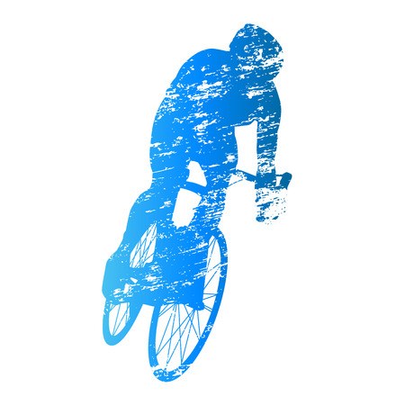 scratched: Scratched vector silhouette of road cyclist