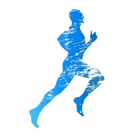 Gekrast vector silhouet van de lopende man Stock Illustratie