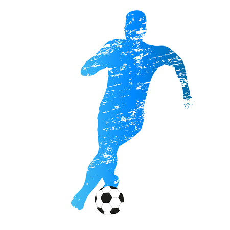 scratched: Scratched vector silhouette of running soccer player Illustration
