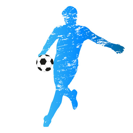 scratched: Scratched vector silhouette of young soccer goalie Illustration