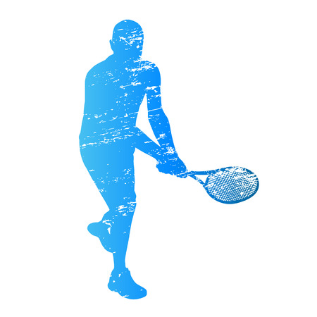 male tennis players: Scratched vector silhouette tennis player