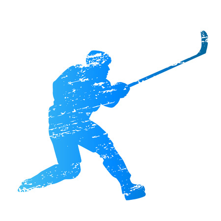 ice hockey player: Scratched vector silhouette ice hockey player Illustration