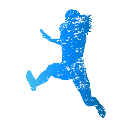 hurdles: Scratched vector silhouette of jumping woman
