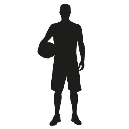 Basketball player standing with ball in hand.  silhouette of sportsmen with a ball Çizim