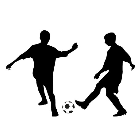 playing soccer: Two kids playing soccer silhouettes Illustration