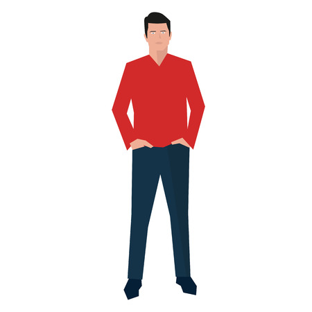 hands on pockets: Young man standing with hands in pockets, flat design