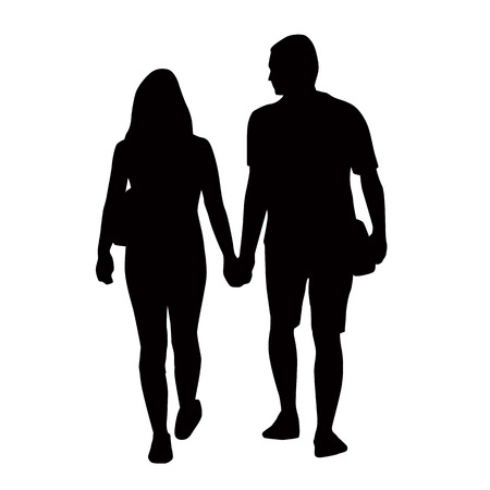 Couple of young people holding hands silhouettes Illustration