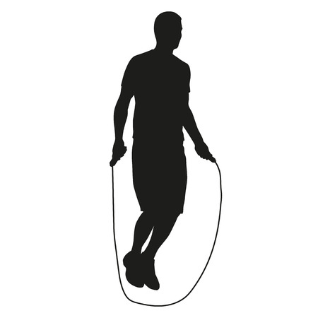 jump rope: Young man jumping rope. silhouette of an athlete in training