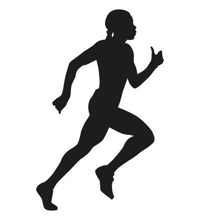 running woman: silhouette of running woman