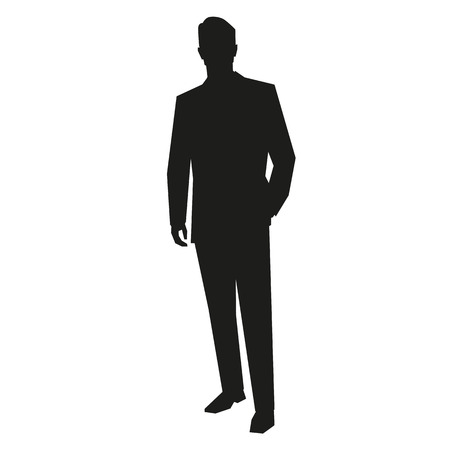 people standing: Young business man silhouette
