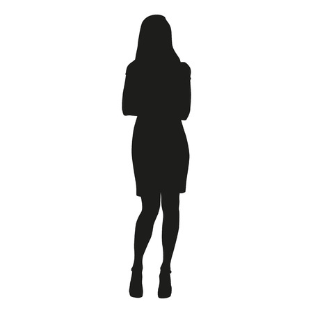 skirt suit: Woman silhouette with folded arms
