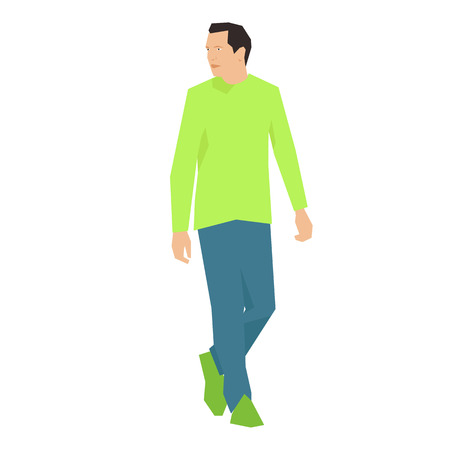 anorak: Man is walking and looking. vector Illustration