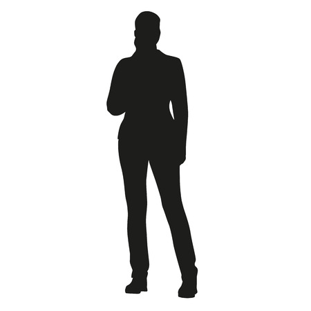 person silhouette: Young standing woman vector silhouette