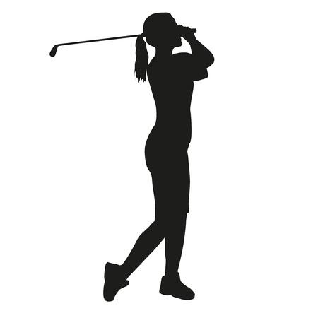 Woman golfer silhouette