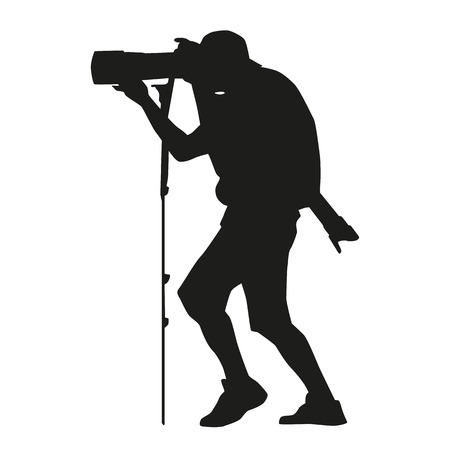 telephoto: Photographer with a camera on a monopod also with a telephoto lens. Vector silhouette