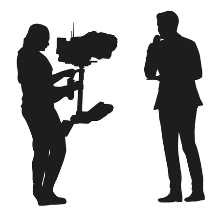 Reporter with a microphone stand in front of camera, vector silhouette