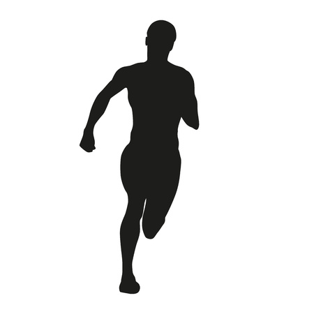 sprinting: Sprinting woman. Vector silhouette Illustration