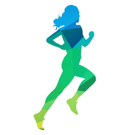 woman run: Run. Abstract geometrical running woman Illustration