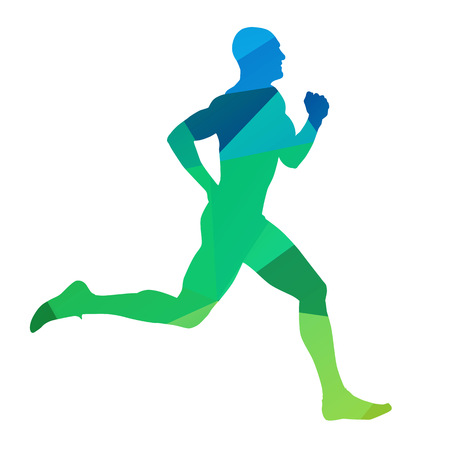 Running man, abstract vector runner. isolated silhouette